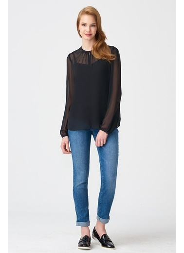 NaraMaxx Şifon Siyah Bluz Siyah